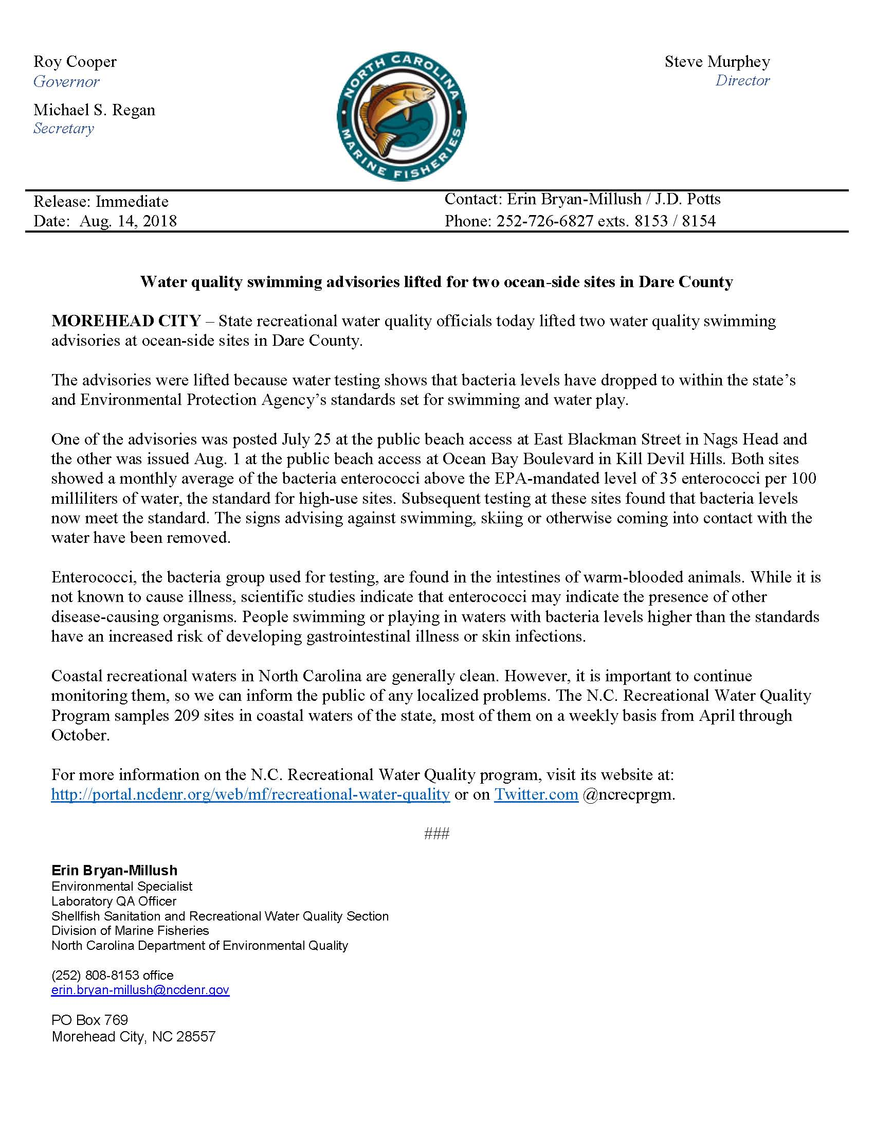 8.14.2018 NCEQ Swimming Advisory Lifted for Sites in Dare County