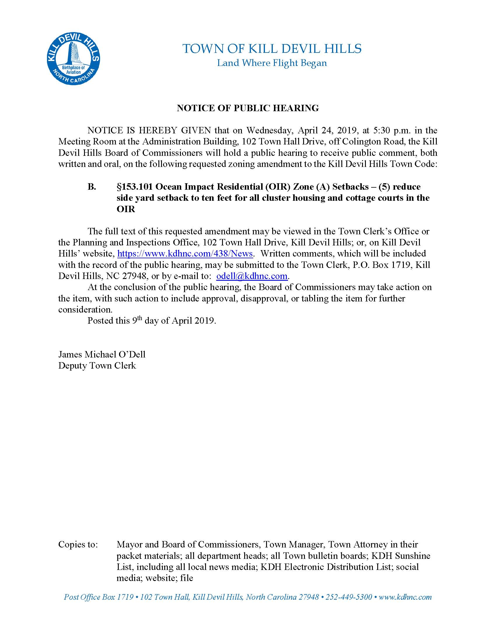 4.24.2019 Kill Devil Hills Board of Commissioners OIRZS Public Hearing Notice