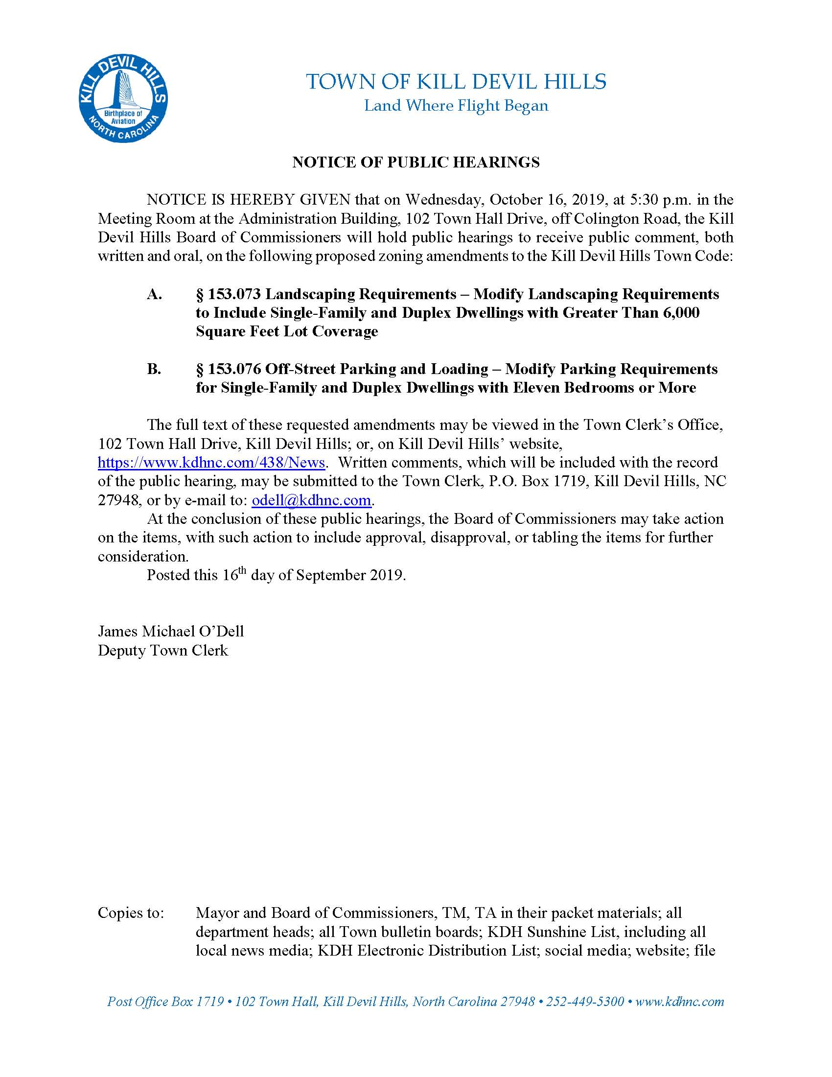 10.16.2019 Kill Devil Hills Board of Commissioners Public Hearings Notice