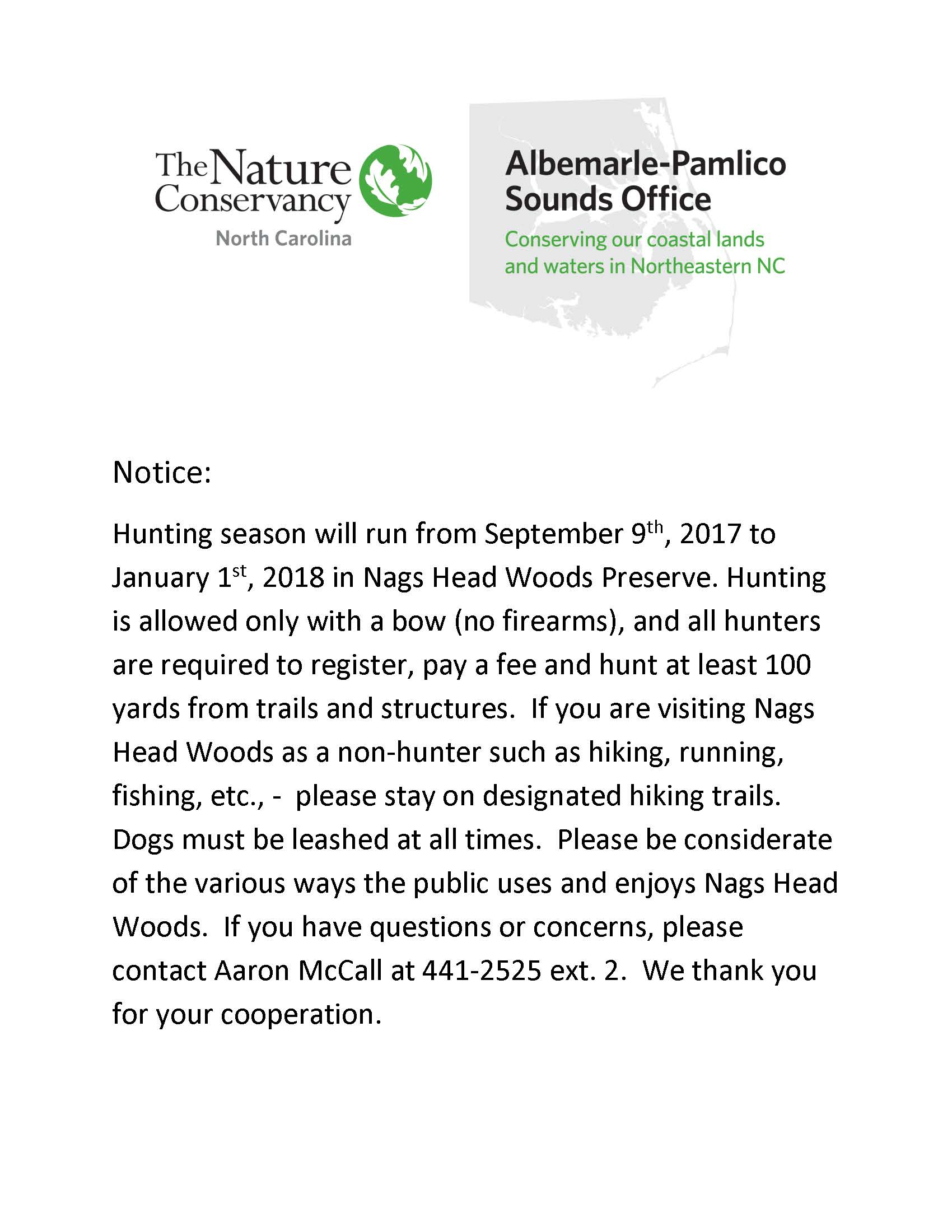 Hunting Notice 2017_